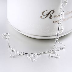 Newest Fashion 925 Sterling Silver Charm Love Heart Beads Bracelet Bangle | eBay
