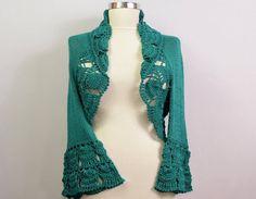 Bolero Jacket, Crochet Shrug, Crochet Bolero, Winter Wedding Bridal Shrug, Knit Bolero, Crochet Lace Shrug, 3/4 Sleeve Ruffle Shrug Cape