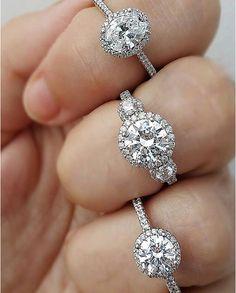 Three Ritani diamond halo engagement rings- in love with the oval one! Halo Diamond Engagement Ring, Diamond Rings, Kay Jewelers Engagement Rings, Halo Rings, Ring Verlobung, Dream Ring, Diamond Are A Girls Best Friend, Wedding Ring Bands, Beautiful Rings