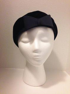 50s Hat/ Navy Blue Velvet Hat by Clover Lane