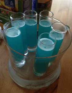 Breaking Bad blue meth cocktail: 2 shots Absolut vodka, 1 shot blue curaçao, 1 shot pineapple juice, 1/2 shot lemon juice. It's strong and delicious and I call it Crystal Blue Persuasion.