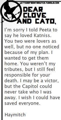 Letter Haymitch to Clove and Cato