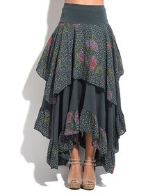 Anthracite & Pink Floral Dot Ruffle Midi Skirt