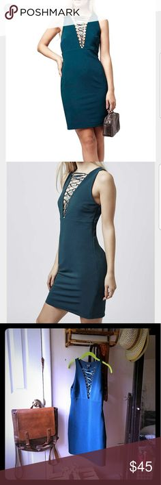 Teal bodycon, plunge dress With a plunging, laced neckline you will turn heads in any room! Topshop Dresses Mini