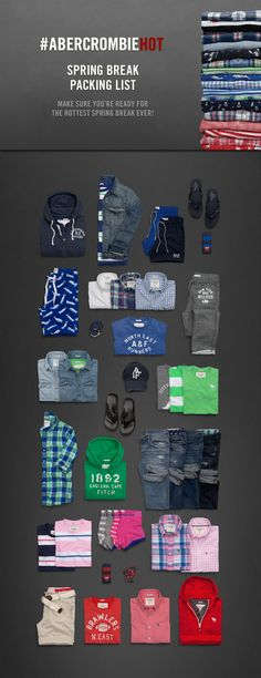 Men's Spring Break Packing List | #ABERCROMBIEHOT | http://www.abercrombie.com  If only I had this much Abercrombie