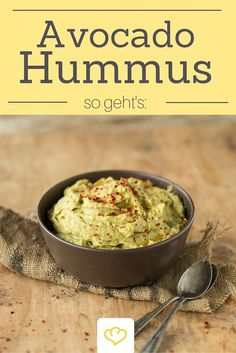 Avocado hummus - Avocado and chickpea hummus – looks great, tastes good and can be enjoyed without a guilty consci - Avocado Hummus, Chickpea Hummus, Hummus Food, Vegetarian Breakfast Recipes, Vegetarian Appetizers, Veggie Recipes, Chutneys, Healthy Diet Tips, Healthy Recipes