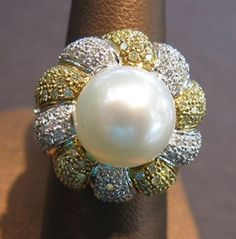ORNATE 2-TONE 18K W MAGNIFICENT SOUTH SEA PEARL & 2.25 CTS DIAMONDS NEW RING #Cocktail