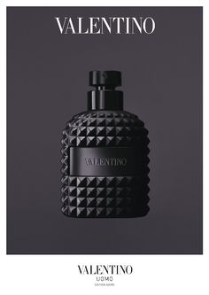 Product design: black perfume bottle by Valentino Uomo Edition Noire (Launch March Valentino Black, Perfume Packaging, Beauty Packaging, Packaging Design, Bussiness Card, Web Design, Bottle Design, Man Stuff, Product Design