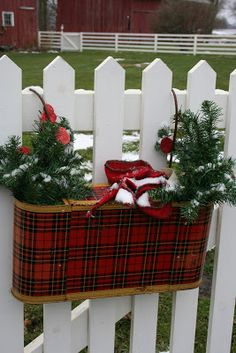 Tartan plaid travel thermos all dolled up for Christmas! Tartan Christmas, Christmas Porch, Country Christmas, Outdoor Christmas, Christmas Colors, All Things Christmas, Winter Christmas, Vintage Christmas, Christmas Wreaths