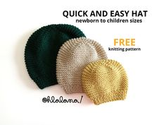 Knitting Blogs, Free Knitting, Knitting Patterns, Knitted Hats, Crochet Hats, Garter Stitch, Baby Patterns, Knitting Hats, Knit Patterns