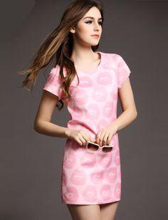 Pink Short Sleeve Lips Print Bodycon Dress - Fashion Clothing, Latest Street Fashion At Abaday.com