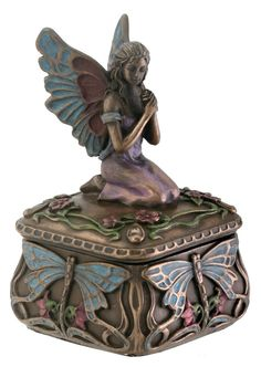 Fairy on Dragonfly Jewelry Box