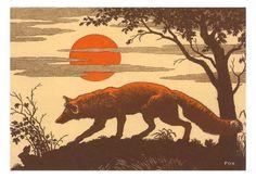 Fox Woodcut Poster