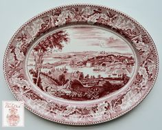 Vintage Red Transferware platter l by Johnson Brothers in the Historic America Pattern. Scene depicts an historic view of Washington D.C. The border is one of my favorites...acorns and oak leaves. Mea