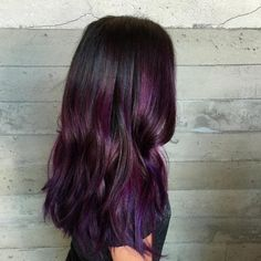 30 Stunning Ideas Of Black Hair With Highlights [August, Purple Brown Hair, Hair Color For Black Hair, Purple Balayage, Hair Color Balayage, Black Hair With Highlights, Hair Highlights, Modern Boy Haircuts, Natural Hair Styles, Long Hair Styles