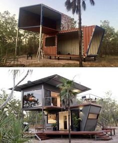 The Magnificent Hideaway Litchfield Container Cabin in Nature - Australia - Living in a Container Building A Container Home, Container Buildings, Container House Plans, Storage Container Homes, Cargo Container, Container Store, Shipping Container Home Designs, Shipping Containers, Shipping Container Cabin
