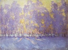 Sunrise Russian Post-Impressionist Painter Igor Grabar love the colours, the yellow background and purple/blue for winter Painting Snow, Winter Painting, Abstract Landscape, Landscape Paintings, Landscapes, Munier, Post Impressionism, Art Moderne, Russian Art
