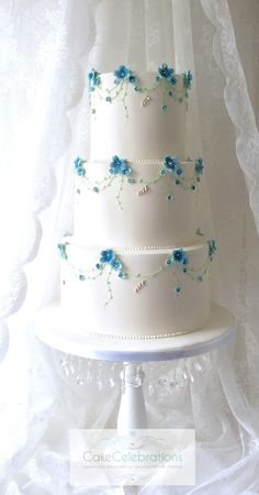 Forget Me Not wedding cake -- very simple clean design