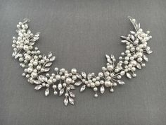 Romantic Bridal Hair Vine with Pearls and Crystals