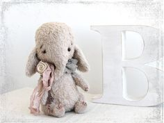Artist Teddy Elefant Rosie 6 inches OOAK by zverrriki on Etsy.