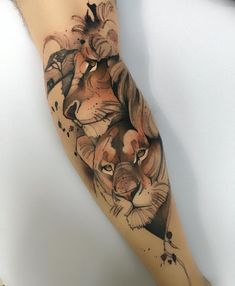 Image may contain: one or more people Lioness Tattoo, Tiger Tattoo, Arm Tattoo, Sleeve Tattoos, Future Tattoos, New Tattoos, Body Art Tattoos, Tatoos, Family Tattoos