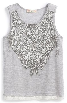 Miss Me Slub Tank Top (Big Girls) available at #Nordstrom