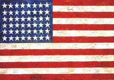 Jasper Johns's 'Flag', Encaustic, oil and collage on fabric mounted on plywood,1954-55 - Pop art - Wikipedia, the free encyclopedia
