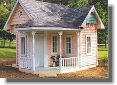 Tiny Pink Cottage with a Porch --  Put some pretty window boxes on it, a white wicker chair and a beautiful climbing pink or yellow rose vine, and I'd be in my 7th heaven !! :D