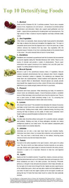"HEALTHY FOOD - ""Top 10 detoxifying foods"".,"