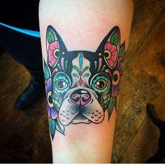 Sugar Skull Boston Terrier Tattoo