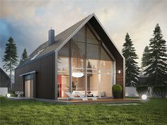 Projekt domu EX 13 Energo Plus - Best Modern House Design, A Frame House, Forest House, Village Houses, Modular Homes, Home Fashion, Exterior Design, Home Projects, Modern Architecture