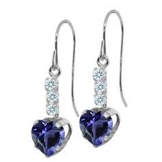 1.29 Ct Heart Shape Blue Iolite White Sapphire 925 Sterling Silver Earrings, Women's