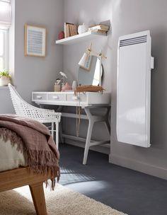 Ce radiateur électrique à inertie  procure une chaleur douce et agréable. Son style épuré conviendra à toutes les pièces de la maison. Il est est doté d'un thermostat électronique à programmation libre avec affichage digital et d'un détecteur de fenêtre ouverte / Castorama #radiateurelectrique