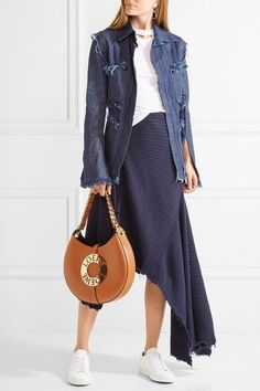 Tan leather (Calf) Snap-fastening tab at open top Comes with dust bag Weighs approximately Made in ItalyAs seen in The EDIT magazine Calf Leather, Leather Shoulder Bag, Brown Leather, Small Crossbody Bag, Leather Crossbody Bag, Loewe Bag, Street Style, Bags, Shopping