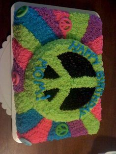 Peace Sign Cake 2 Omg I flipping love it,think this will be the one I make for my niece for her 14th.bday party