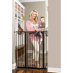 Regalo Deluxe Black Easy Step 41-Inch Extra Tall Walk Through Baby Gate, Pressure Mount with Included Extension Kit -- Special dog product just for you. See it now! : Dog gates Dog Safety, Safety And Security, Child Safety, Baby Barrier, Safety Gates For Stairs, Stair Gate, Baby Gates, Dog Gates, Gate Latch