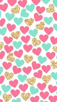 wallpaper | lockscreen | papel de parede | plano de fundo | background | coração | corações | heart | hearts | pink | gold