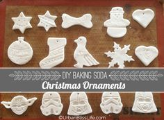 DIY Baking Soda Christmas Ornaments 1/2 cup cornstarch 1 cup baking soda 3/4 cup water