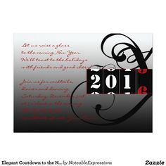 elegant coutdown to the new years eve party 5x7 paper invitation card invitation paper party