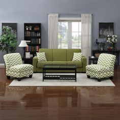 Portfolio Mali Convert-a-Couch Apple Green Linen Futon Sofa Sleeper and set of 2 Green Stripe Chevron Armless Chairs $950