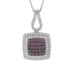 "154-739 - Gems of Distinction™ 14K White Gold 0.77ctw Purple & White Diamond Pendant w/ 18"" Chain"