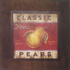 Classic Pears - São produzidas em Mdf Betumizado,cortados levemente irregulares com imagem envelhecida. Acompanha a fita Fixa Forte.  https://www.coisasdelolla.com