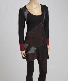 Love this Black Zipper Tiered Tunic - Women by Vintage Concept on #zulily! #zulilyfinds