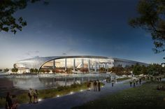 Los Angeles Rams Stadium by HKS Architects   Rendering by HKS Architects