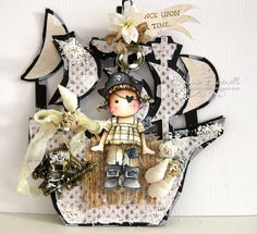 Tilda Pirate Card by LLC DT Member Louise Fraenell, using papers from Maja Design's Sofiero and Vintage Summer Basics collections.
