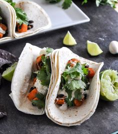 Smokey Sweet Potato and Black Bean Tacos with Chipotle Lime Crema