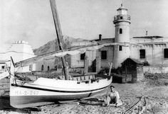 Marbella's lighthouse, now in the middle of the city. This photo was taken around 1950's