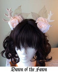 Dawn of the Fawn | Handmade Antler Headband | Mori Goth Mori Kei Gothic Lolita Fairy Kei Fantasy Cosplay Deer Flowers Pink Kawaii Cute