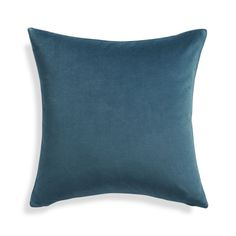 Cotton velvet pillow adds a square of great color and luxurious hand feel to sofas and chairs.  Layer as solids or coordinate with patterns. 100% cotton velvetMachine wash cold, dry flat; cool iron as neededDo not tumble dry, dry clean or bleachOn-seam zipper and knife-edge tailoringCover made in IndiaDown-alternative insert: 100% polyester fill (made in China)Feather insert: 100% duck feather (made in USA of imported materials)Made in multiple countries.