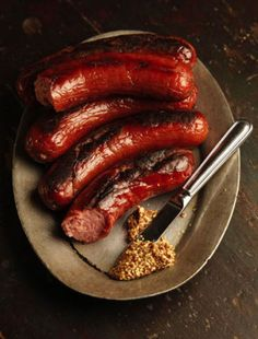 Kielbasa  These juicy smoked sausages are made with a blend of beef chuck and pork belly or shoulder. Kielbasa
